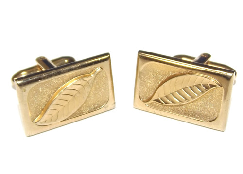 Vintage Gold Tone Rectangular Cuff Links with Embossed Leaf