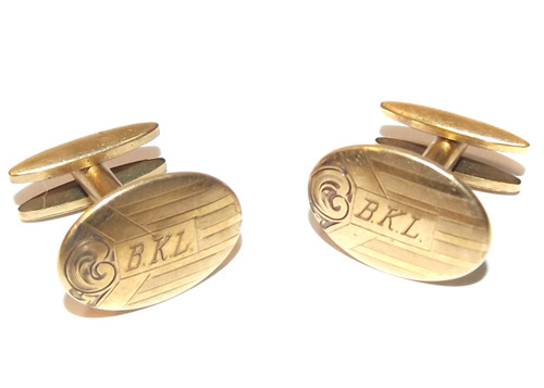 Vintage Simmons Gold Plated Cufflinks with B.K.L. Engraved Initials