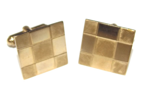 Vintage Square Checker Pattern 1/20 12K Gold Filled Cuff Links