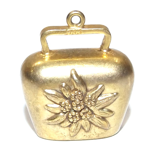 Vintage 8k Gold Miniature Cow Bell Shaped Necklace Pendant Charm Embossed Flower