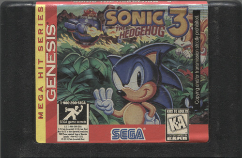 Sonic the Hedgehog 3 Vintage Sega Genesis Video Game Cartridge