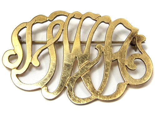 Antique 12k Gold Filled Pierced Script Monograph Brooch Pin SWH