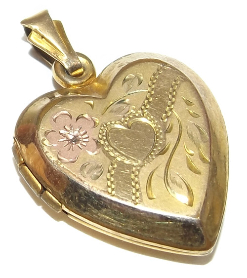 Antique Heart Shaped Locket Necklace Pendant with Two-Tone Engraved Front