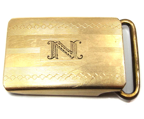 Vintage Anson 12k Gold Filled Belt Buckle with N Monogram Initial