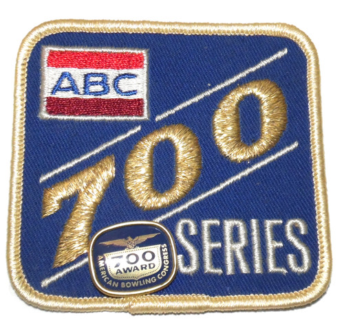 Vintage ABC Bowling 700 Series Award Lapel Pin & Embroidered Cloth Patch