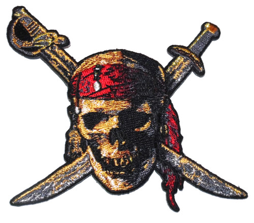 NOS Disney Pirates of the Caribbean Skull & Crossbones Embroidered Cloth Patch