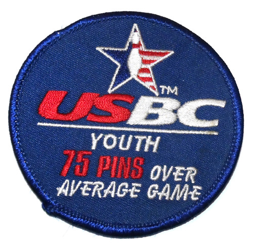 Vintage USBC Youth 75 Pins Over Average Bowling Embroidered Cloth Patch