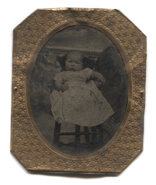 Antique Tintype Photo Named Photograph Baby in Chair & Hidden Mother