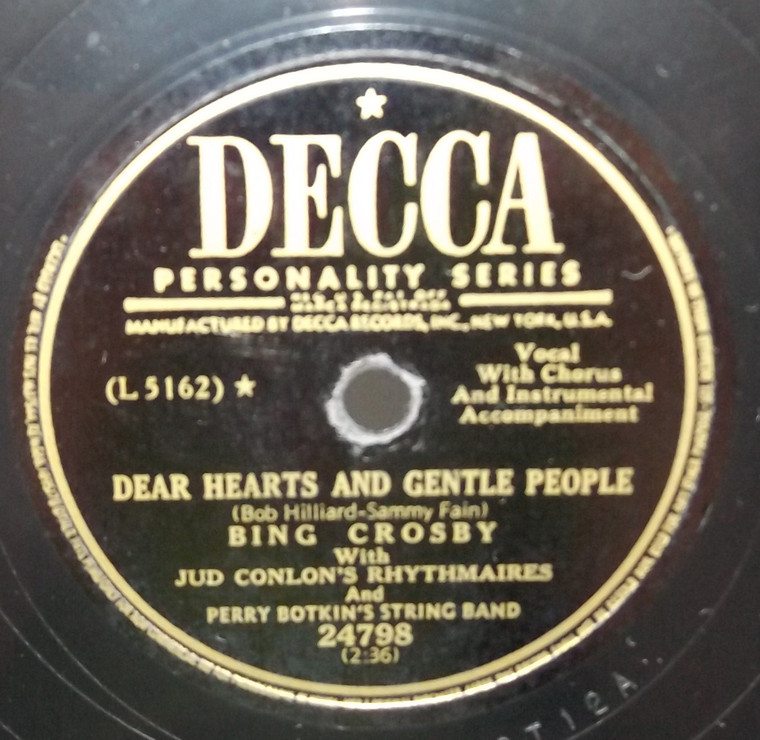 Bing Crosby: Mule Train / Dear Hearts and Gentle People - 78 rpm Record
