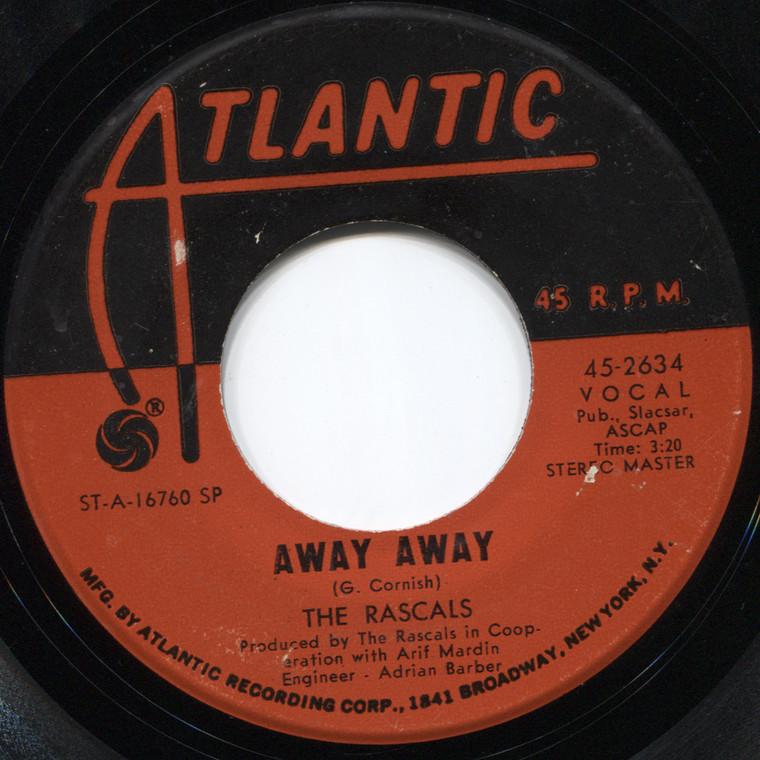 """The Rascals: See / Away Away - 7"""" 45 rpm Vinyl Record"""