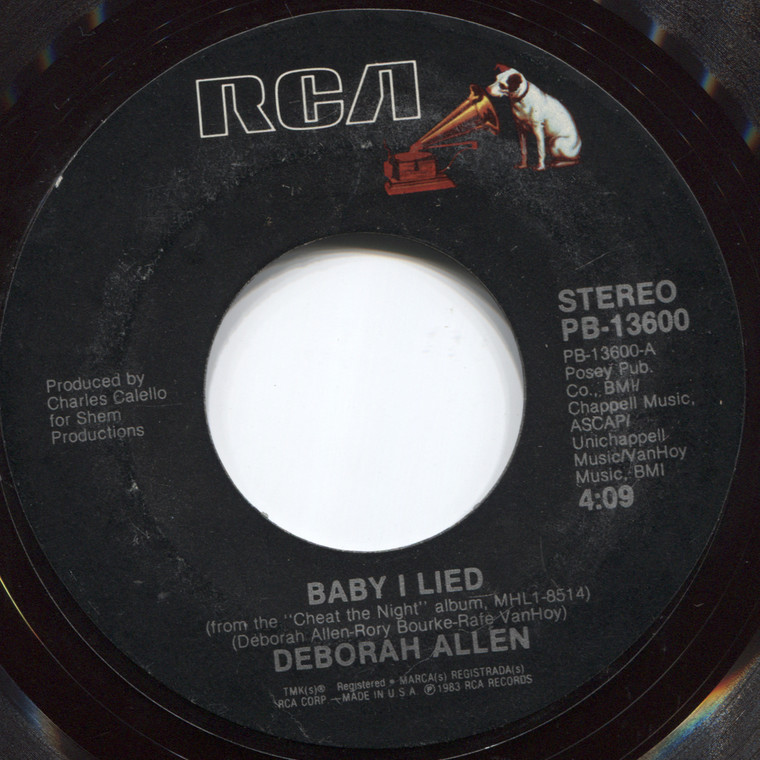 Deborah Allen: Baby I Lied / Time is Taking You Away from Me - 45 rpm Vinyl Record