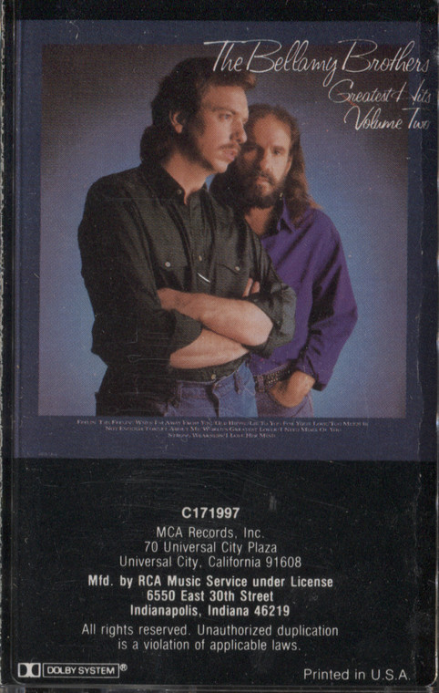 The Bellamy Brothers: Greatest Hits, Volume Two - Audio Cassette Tape