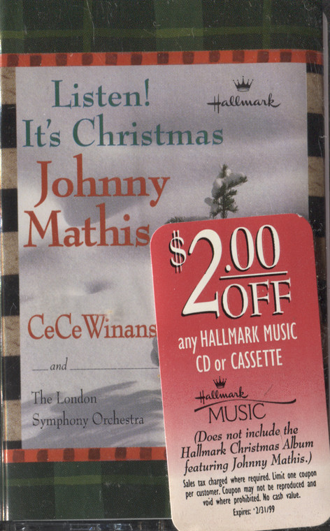 Johnny Mathis / CeCe Winans & London Symphony Orchestra: Listen! It's Christmas - Hallmark Sealed Audio Cassette Tape