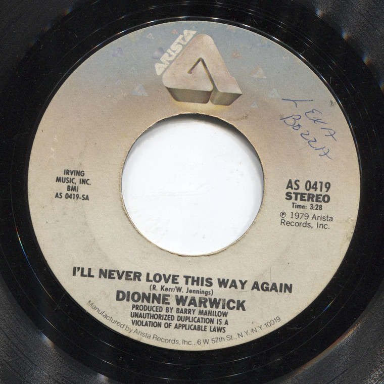 Dionne Warwick: In Your Eyes / I'll Never Love This Way Again - 45 rpm Vinyl Record