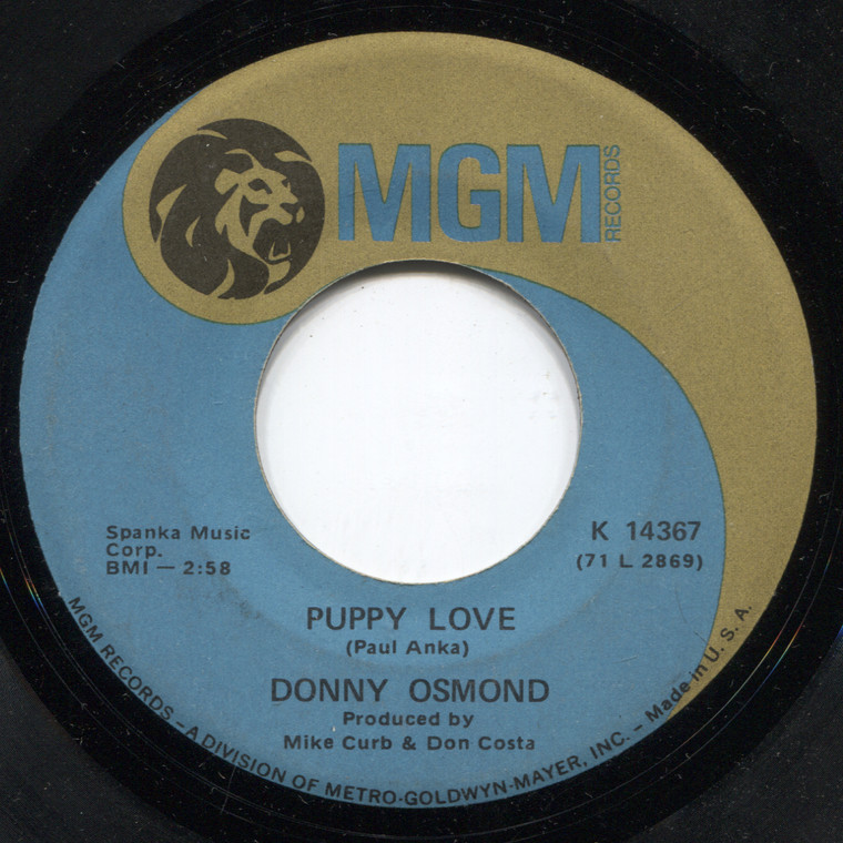 Donny Osmond: Puppy Love / Let My People Go - 45 rpm Vinyl Record