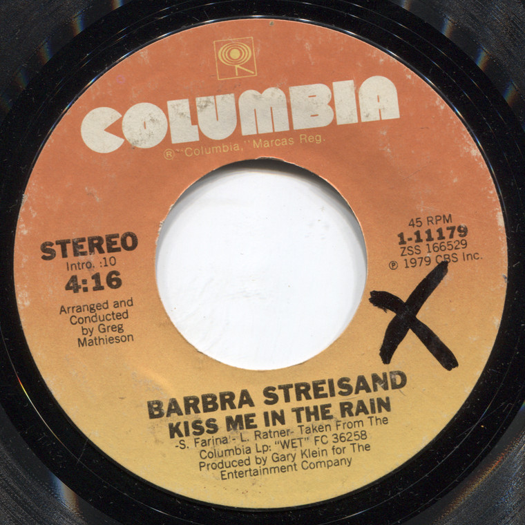 Barbra Streisand: I Ain't Gonna Cry Tonight / Kiss Me in the Rain - 45 rpm Vinyl Record
