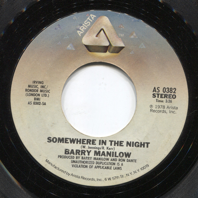 Barry Manilow: Somewhere in the Night / Leavin' in the Morning - 45 rpm Vinyl Record