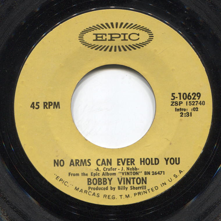 Bobby Vinton: I've Got That Lovin' Feelin' (Back Again) / No Arms Can Ever Hold You - 45 rpm Vinyl Record