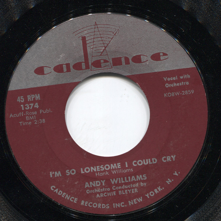 Andy Williams: The Village of St. Bernadette / I'm So Lonesome I Could Cry - 45 rpm Vinyl Record