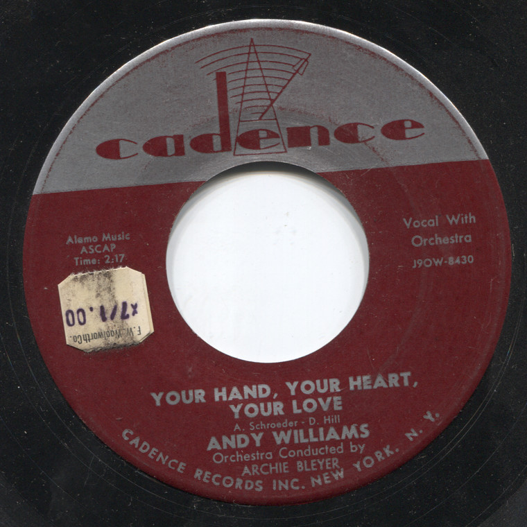 Andy Williams: Promise Me, Love / You Hand, Your Heart, Your Love - 45 rpm Vinyl Record