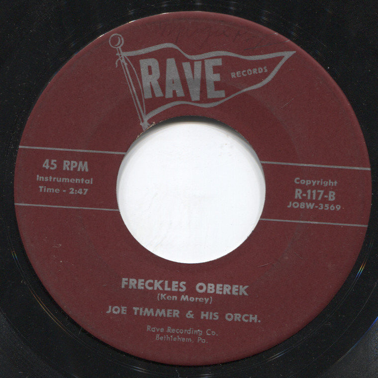 Joe Timmer & Orchestra: Freckles Oberek / There Goes My Baby Polka - 45 rpm Vinyl Record
