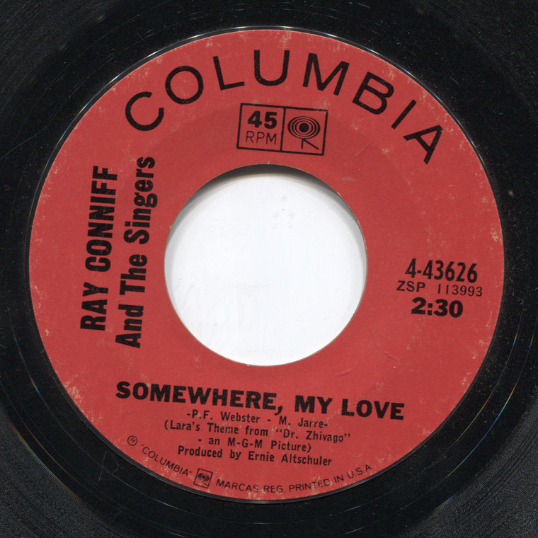 Ray Conniff & the Singers: Somewhere, My Love / Midsummer in Sweden - 45 rpm Vinyl Record