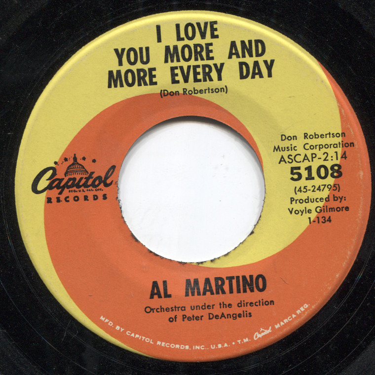 Al Martino: I'm Living My Heaven with You / I Love You More and More Every Day - 45 rpm Vinyl Record