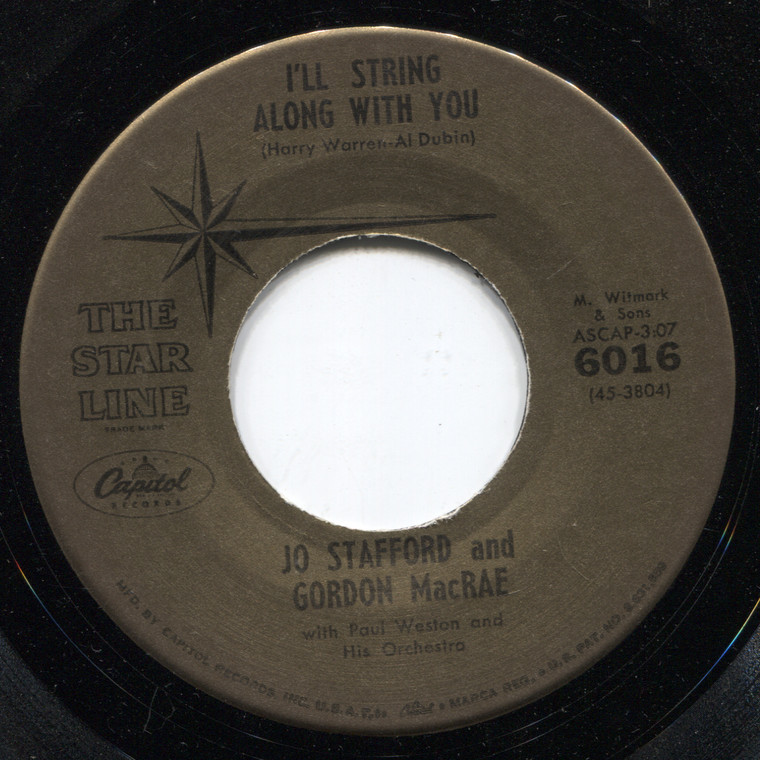 Jo Stafford & Gordon MacRae: Whispering Hope / I'll String Along with You - 45 rpm Vinyl Record