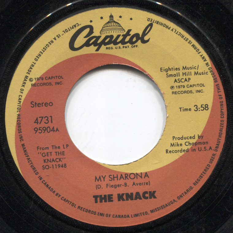 The Knack: Let Me Out / My Sharona - 45 rpm Vinyl Record