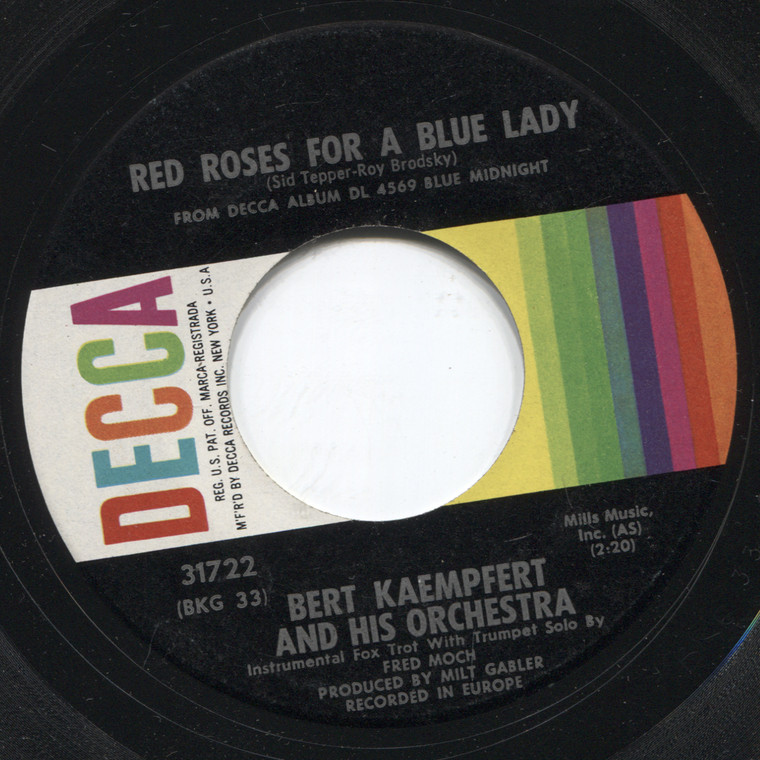 Bert Kaempfert & Orchestra: Lonely Nightingale / Red Roses for a Blue Lady - 45 rpm Vinyl Record