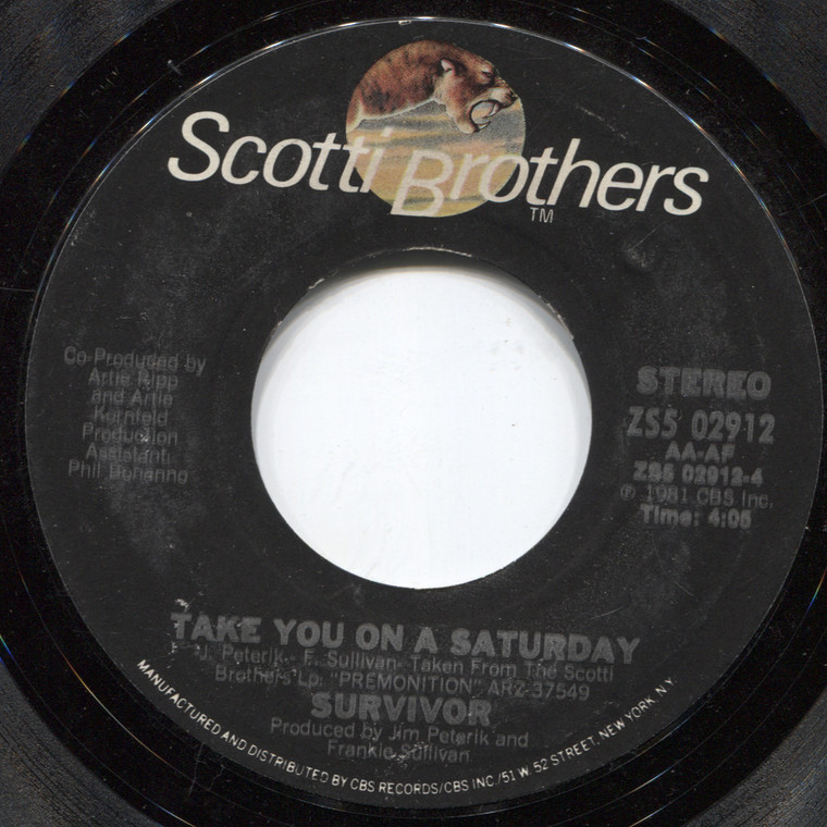 Survivor: Eye of the Tiger / Take You on a Saturday - 45 rpm Vinyl Record