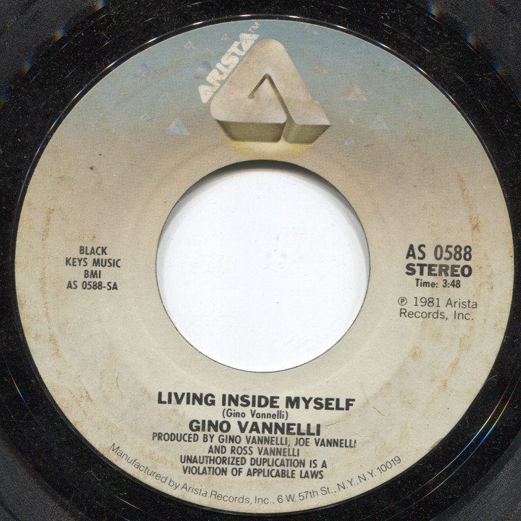 Gino Vannelli: Stay with Me / Living Inside Myself - 45 rpm Vinyl Record