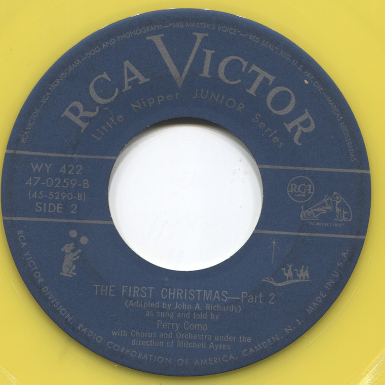 Perry Como: The First Christmas (Parts 1 & 2) - Yellow Vinyl 45 rpm Vinyl Record