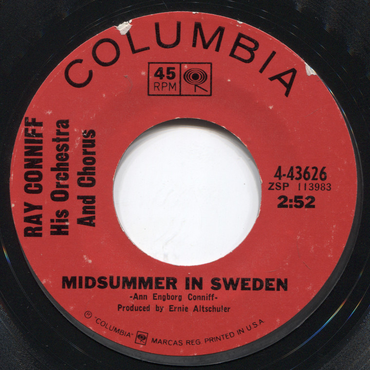 Ray Conniff, Orchestra & Chorus: Midsummer in Sweden / Somewhere, My Love - 45 rpm Vinyl Record