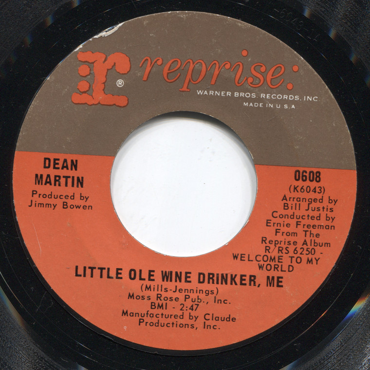Dean Martin: I Can't Help Remembering You / Little Old Wine Drinker, Me - 45 rpm Vinyl Record
