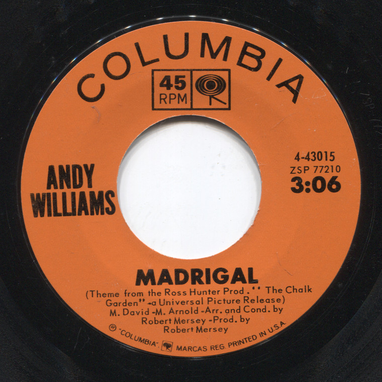 Andy Williams: Madrigal / Wrong for Each Other - 45 rpm Vinyl Record