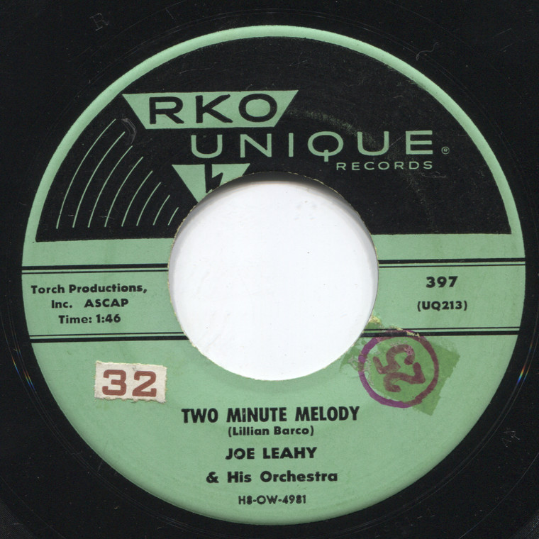 Joe Leahy & Orchestra: By the Bend in the River / Two Minute Melody - 45 rpm Vinyl Record