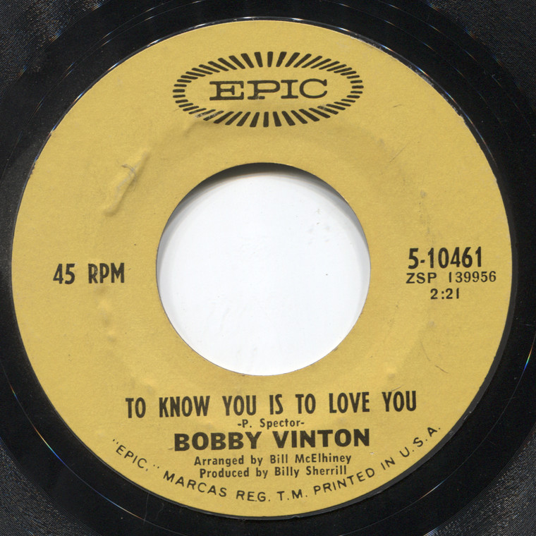 Bobby Vinton: The Beat of My Heart / To Know You is to Love You - 45 rpm Vinyl Record