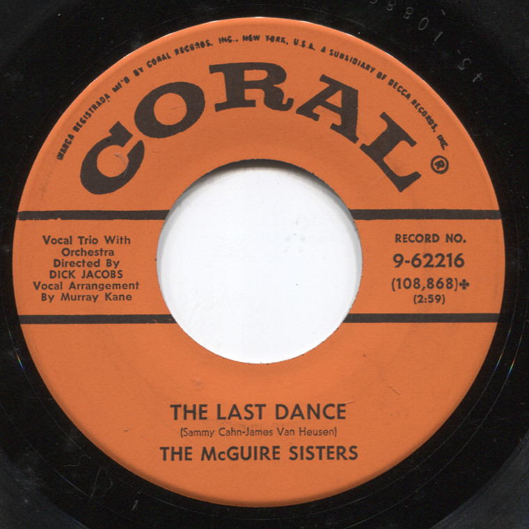 The McGuire Sisters: The Last Dance / Nine O'Clock - 45 rpm Vinyl Record