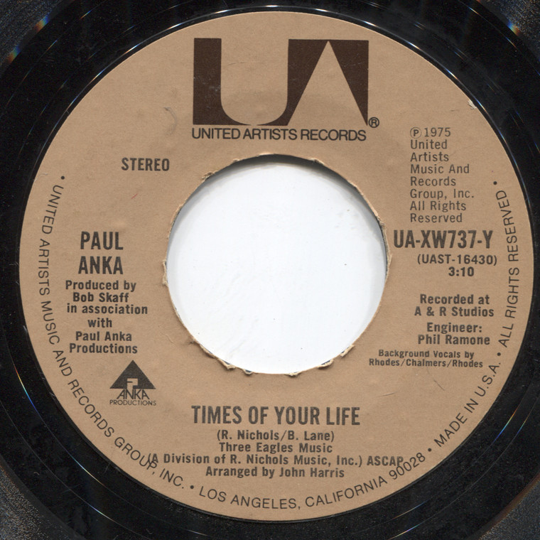 Paul Anka: Water Runs Deep / Times of Your Life - 45 rpm Vinyl Record