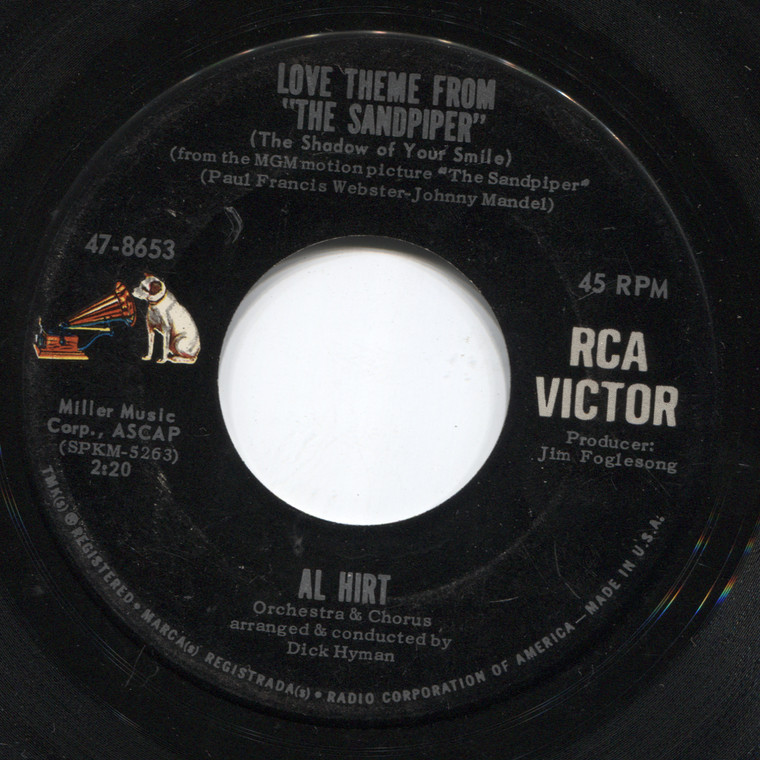 Al Hirt: The Silence / Love Theme from The Sandpiper - 45 rpm Vinyl Record