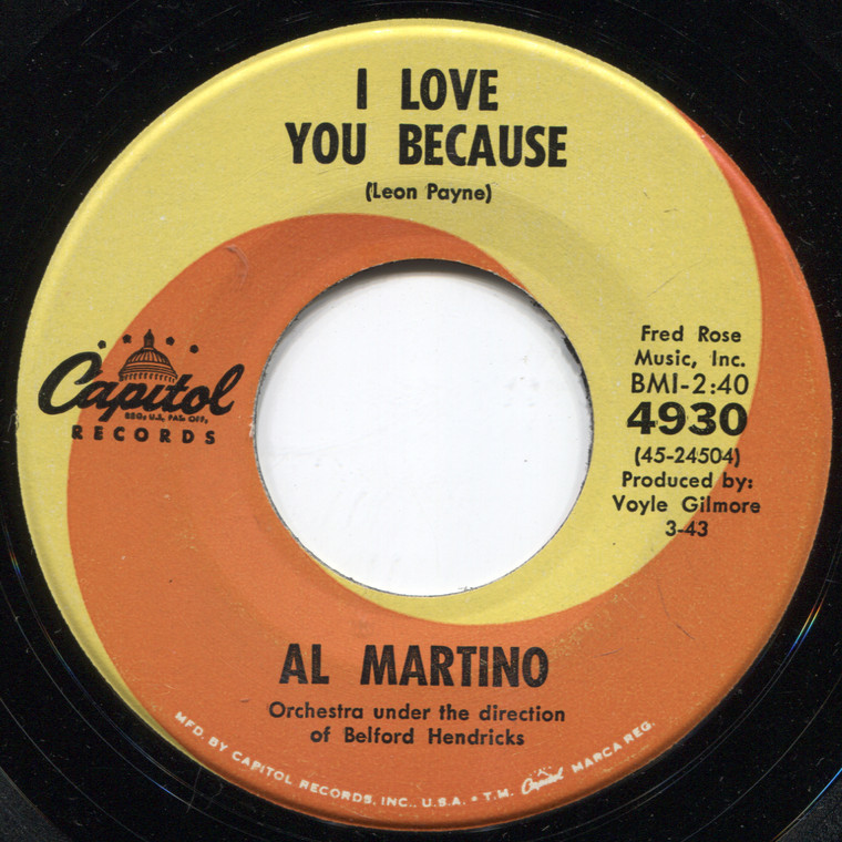 Al Martino: I Love You Because / Merry-Go-Round - 45 rpm Vinyl Record