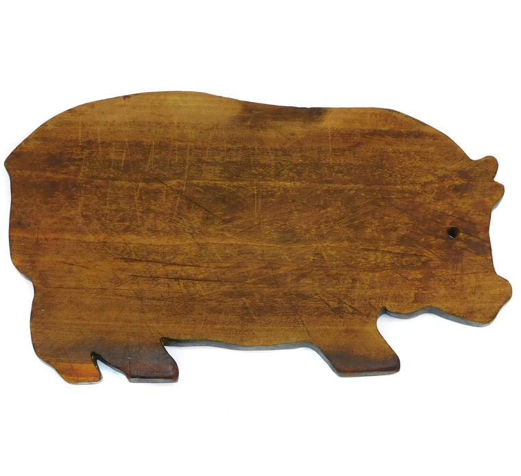 Antique Primitive Wooden Homemade Pig Shaped Cutting Board Original Blue Paint