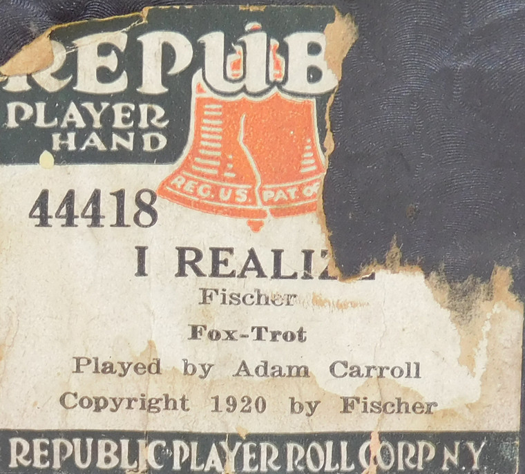 I Realize (#44418 Republic Player Roll Corp.) - Player Piano Roll