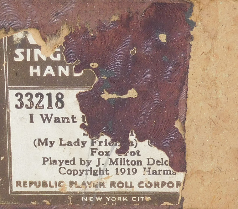 I Want to Spread a Little Sunshine My Lady Friends (#33218 Republic Player Roll Corp.) - Player Piano Roll