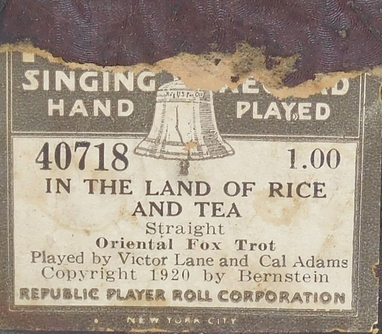 In the Land of Rice and Tea (#40718 Republic Player Roll Corp.) - Player Piano Roll