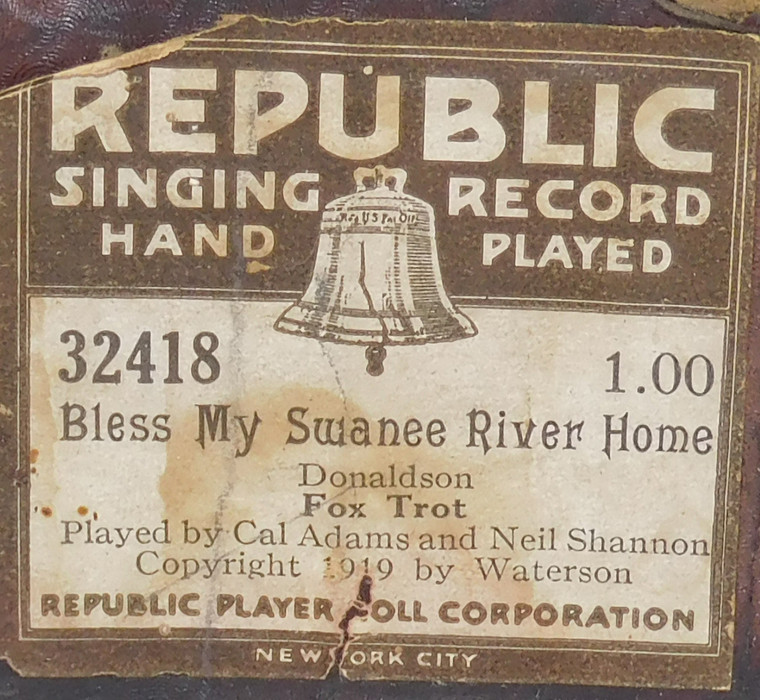 Bless My Swanee River Home (#32418 Republic Player Roll Corp.) - Player Piano Roll