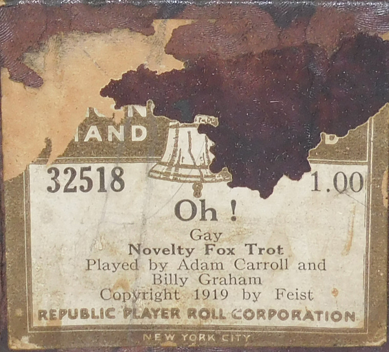 Oh! (#32518 Republic Player Roll Corp.) - Player Piano Roll