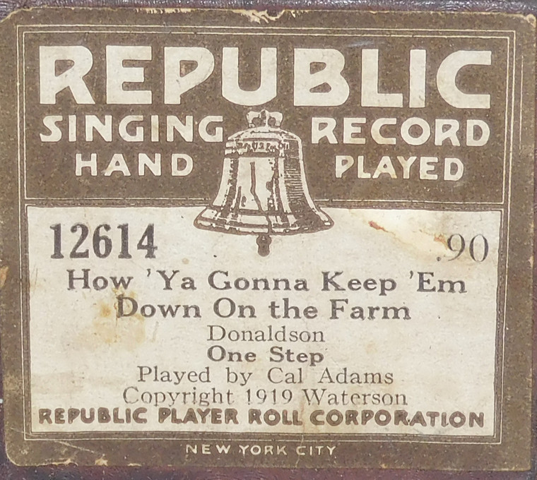How 'Ya Gonna Keep 'Em Down on the Farm (#12614 Republic Player Roll Corp.) - Player Piano Roll
