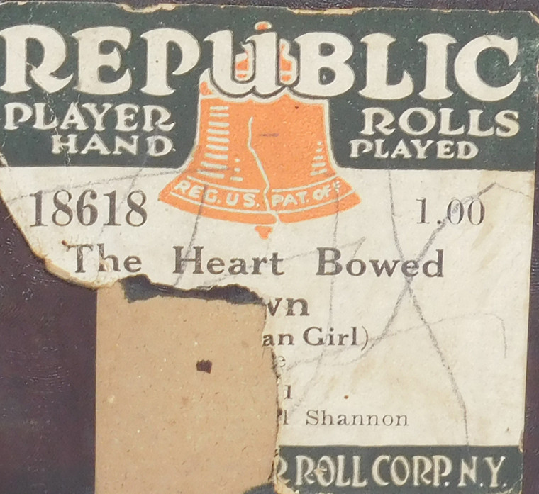 The Heart Bowed Down (The Bohemian Girl) - (#18618 Republic Player Roll Corp.) - Player Piano Roll